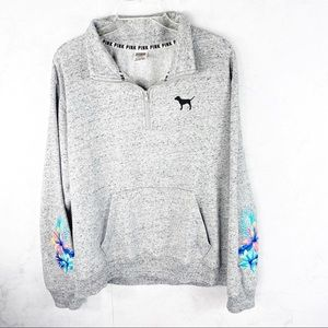 [PINK] Mesh Floral Embroidery Quarter Zip